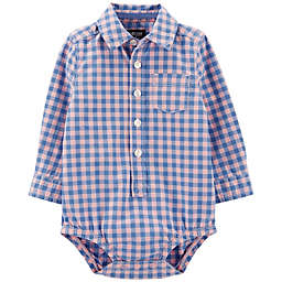OshKosh B'gosh® Easter Checkered Bodysuit in Blue/Pink