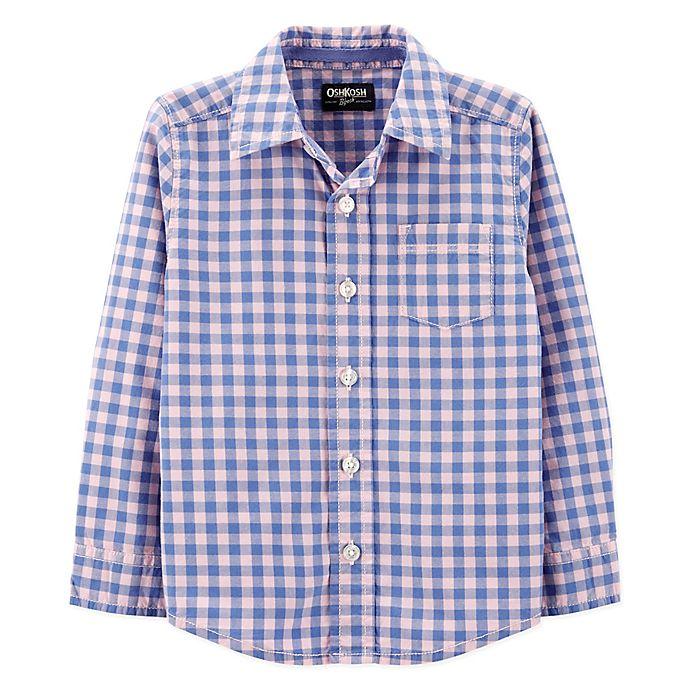 Alternate image 1 for OshKosh B'gosh® Easter Checkered Shirt in Blue/Pink