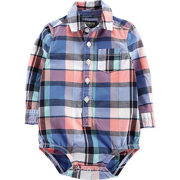 Alternate image 1 for OshKosh B'gosh® Easter Plaid Bodysuit in Blue/Pink