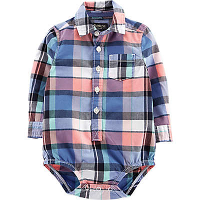 OshKosh B'gosh® Easter Plaid Bodysuit in Blue/Pink