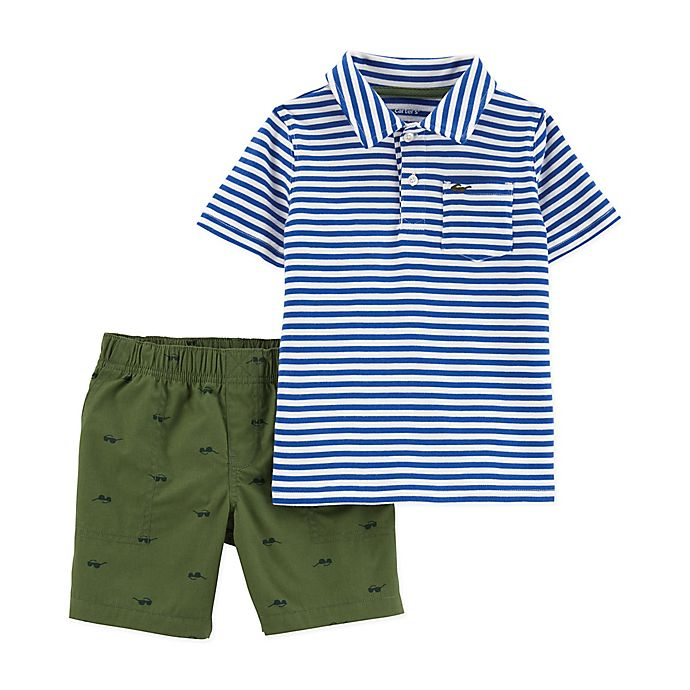 Alternate image 1 for carter's® Stripe Top & Shorts 2-Piece Set in Blue/White