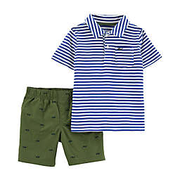 carter's® Stripe Top & Shorts 2-Piece Set in Blue/White