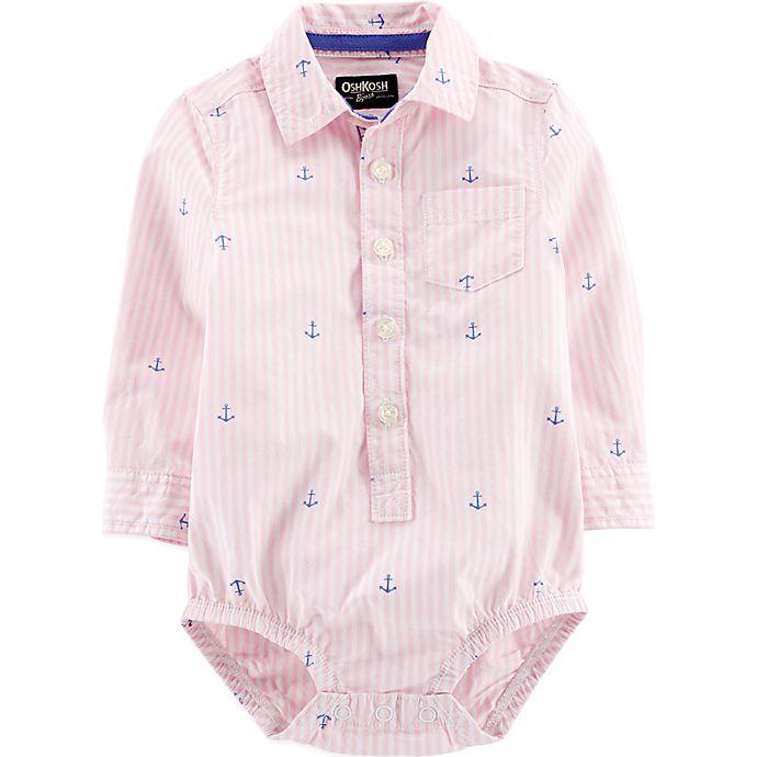 Alternate image 1 for OshKosh B'gosh® Easter Stripe & Anchor Bodysuit in Pink/White