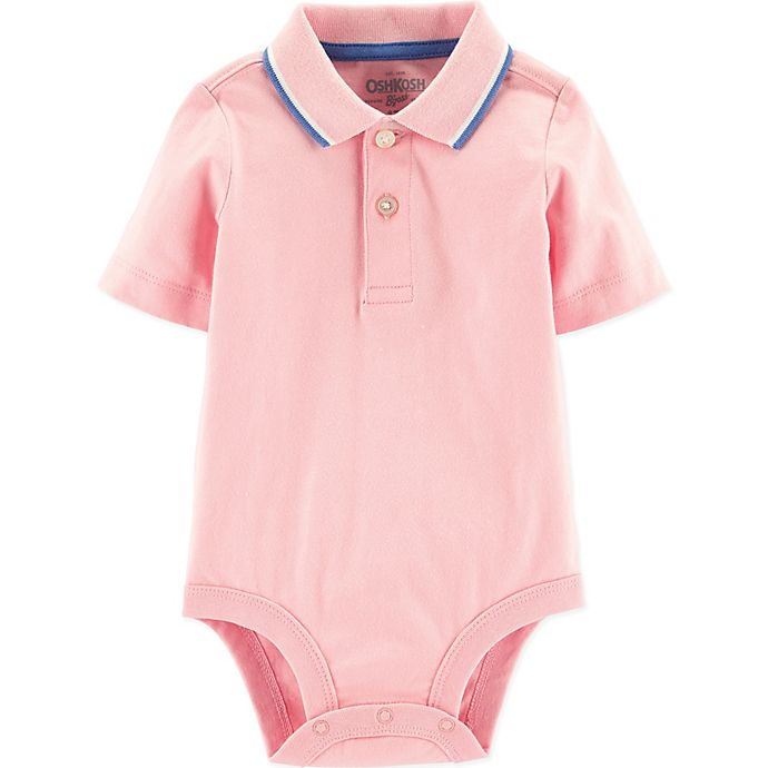 Alternate image 1 for OshKosh B'gosh® 18M Polo Bodysuit in Pink