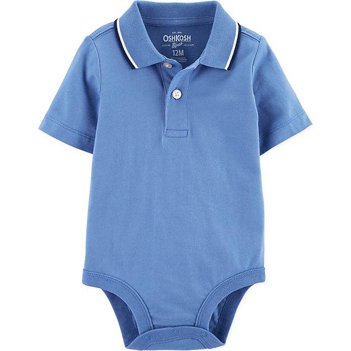 Alternate image 1 for OshKosh B'gosh® 6M Polo Bodysuit in Blue
