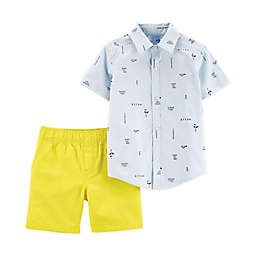 carter's® Awesome Stripe Top & Shorts 2-Piece Set in Blue/White