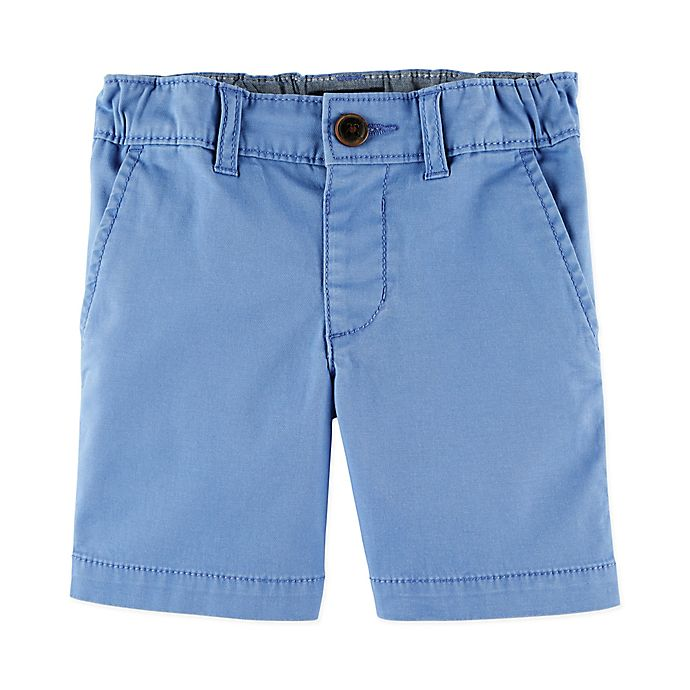 Alternate image 1 for OshKosh B'gosh® Flat Front Stretch Shorts in Blue