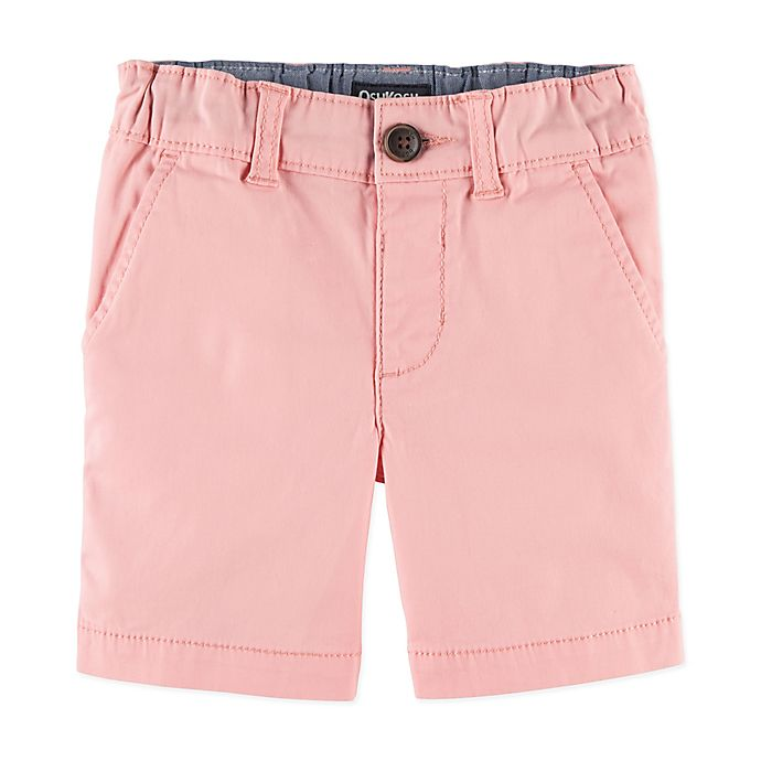 Alternate image 1 for OshKosh B'gosh® Flat Front Stretch Shorts in Pink