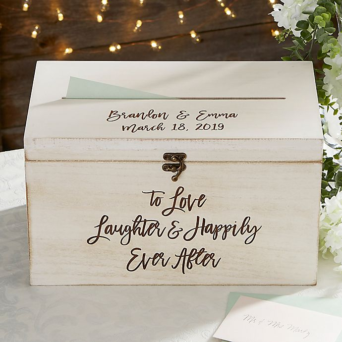Alternate image 1 for Ever After Personalized Wedding Wood Card Box