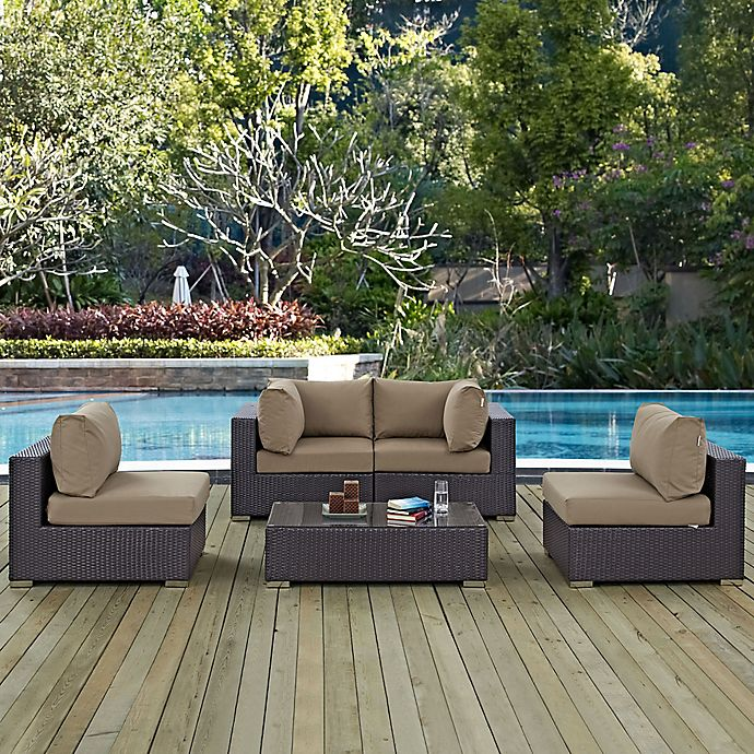 Alternate image 1 for Modway Convene 5-Piece Outdoor Patio Sectional Set