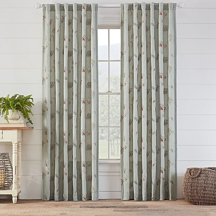 Alternate image 1 for Avery Embroidered 108-Inch Rod Pocket/Back Tab Window Curtain Panel in Spa