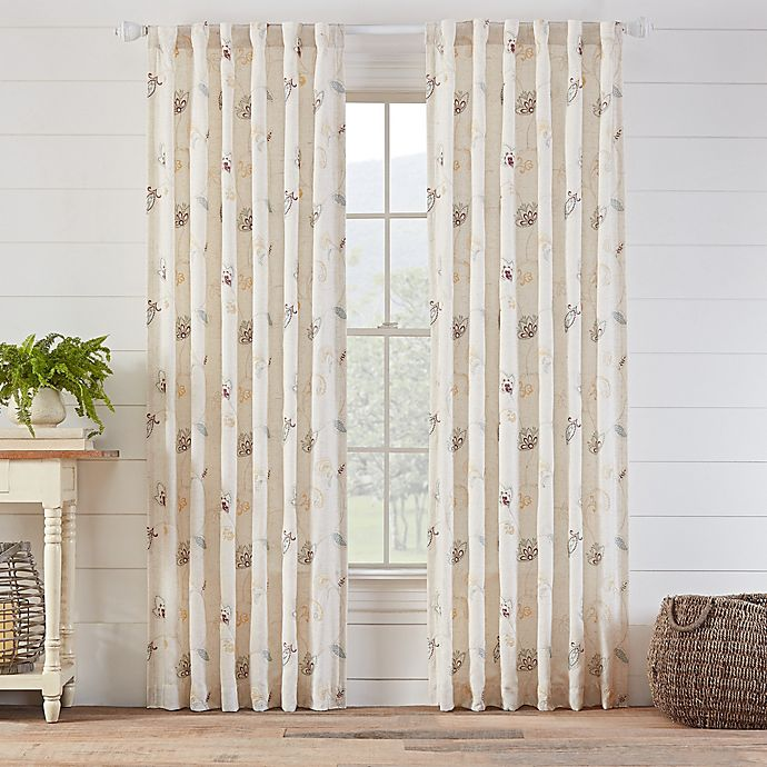 Alternate image 1 for Avery Embroidered 63-Inch Rod Pocket/Back Tab Window Curtain Panel in Natural