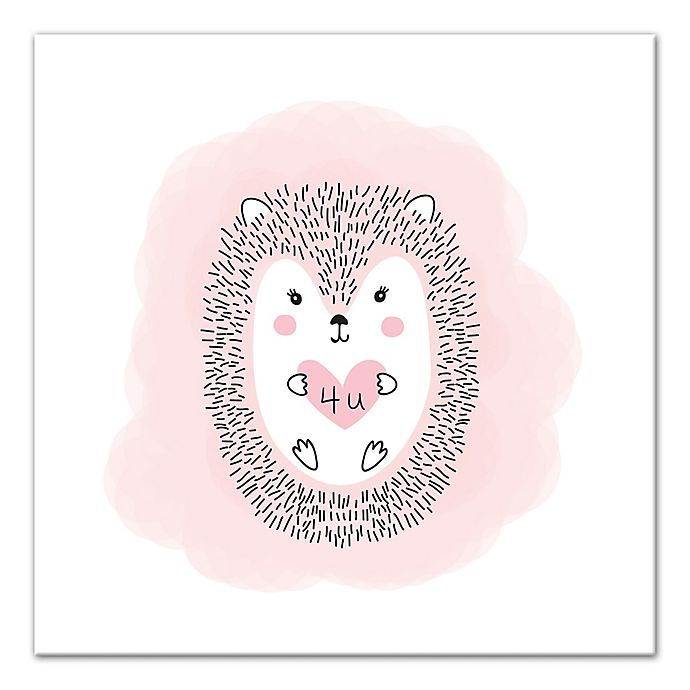 Alternate image 1 for Designs Direct Hedgehog Love 16-Inch Square Canvas Wall Art