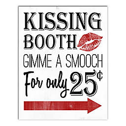 Designs Direct Kissing Booth 11-Inch x 14-Inch Canvas Wall Art in Red