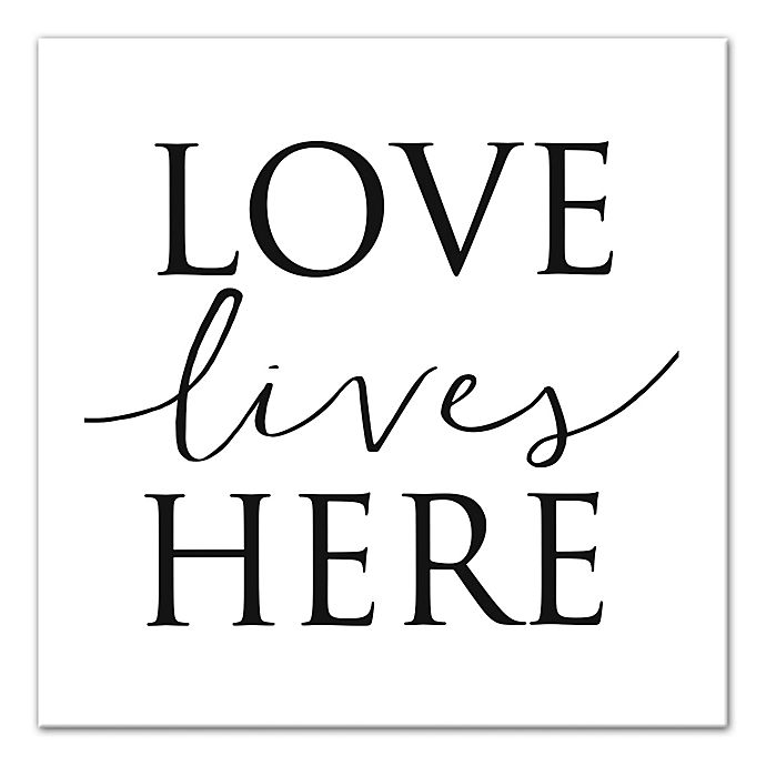 Alternate image 1 for Designs Direct Love Lives Here 16-Inch x 16-Inch Canvas Wall Art in Black