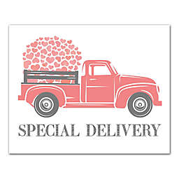 Designs Direct Valentine Heart Special Delivery Truck 10-Inch x 8-Inch Wall Art in Pink