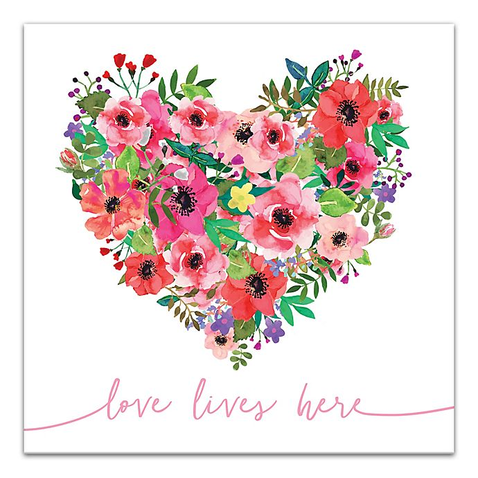 Alternate image 1 for Designs Direct Love Lives Here 16-Inch Square Canvas Wall Art