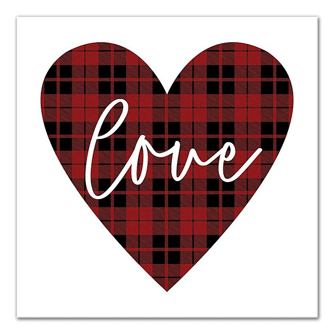 Alternate image 1 for Designs Direct Plaid Love 16-Inch Square Canvas Wall Art