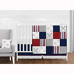 Sweet Jojo Designs® Baseball Patch Solid Fitted Crib Sheet in Red