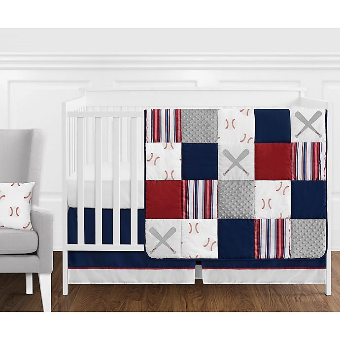 Alternate image 1 for Sweet Jojo Designs® Baseball Patch 11-Piece Crib Bedding Set in Red/White/Blue