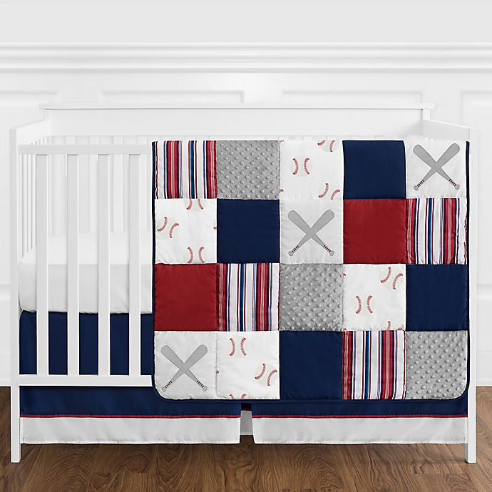 Alternate image 1 for Sweet Jojo Designs® Baseball Patch 4-Piece Crib Bedding Set in Red/White/Blue
