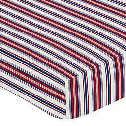 Sweet Jojo Designs® Baseball Patch Striped Fitted Crib Sheet in Red/White