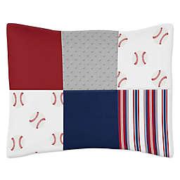 Sweet Jojo Designs® Baseball Patch Standard Pillow Sham in Red/White/Blue