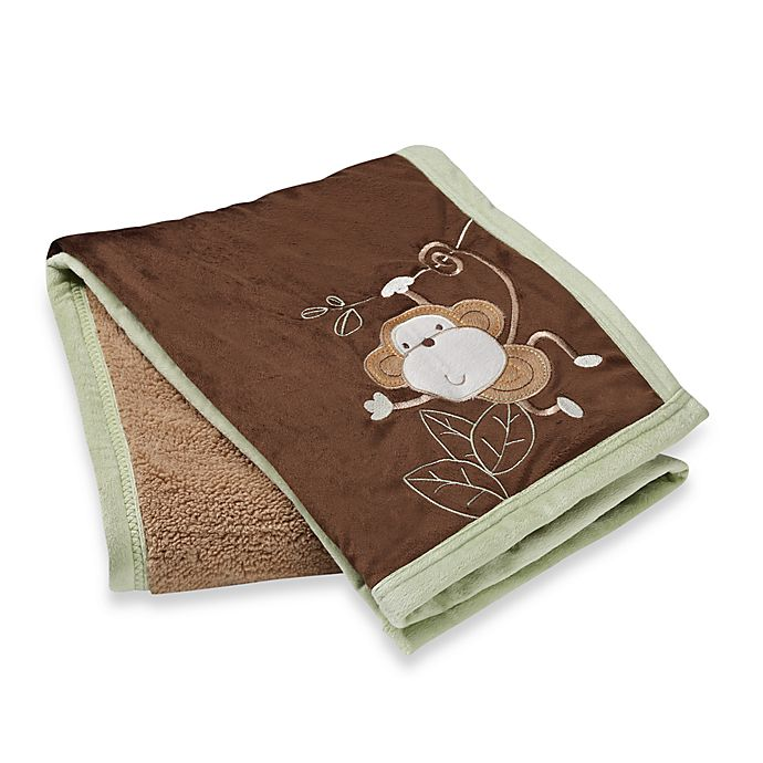 S.L. Home Fashions Baby Blanket in Sage Monkey | Bed Bath & Beyond