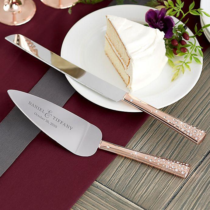 Alternate image 1 for Rose Gold Engraved Cake Knife & Server Set