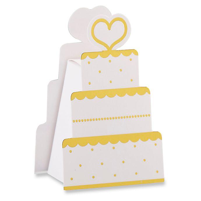 Alternate image 1 for Kate Aspen 12-Pack Wedding Cake Favor Boxes in White/Gold