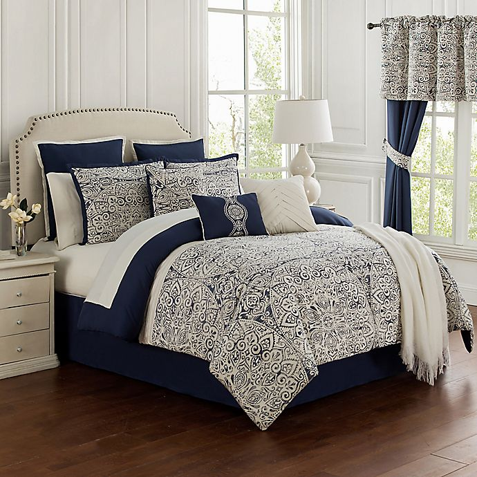 Alternate image 1 for Miramar 14-Piece California King Comforter Set in Navy