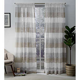 Exclusive Home Bern  96-Inch Rod Pocket Sheer Window Curtain in Cafe (Set of 2)