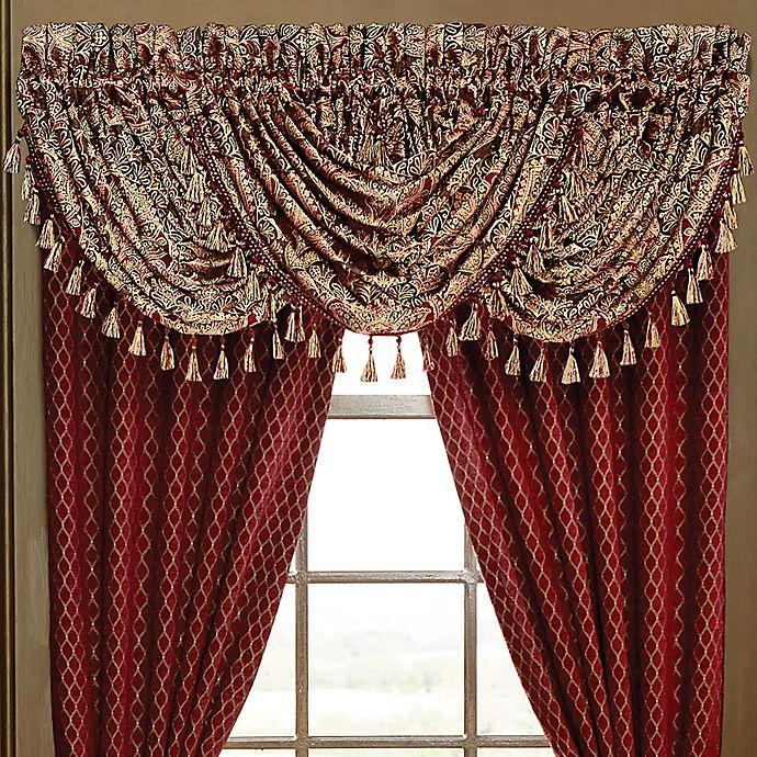 Alternate image 1 for Croscill® Roena Rod Pocket Window Valance in Burgundy