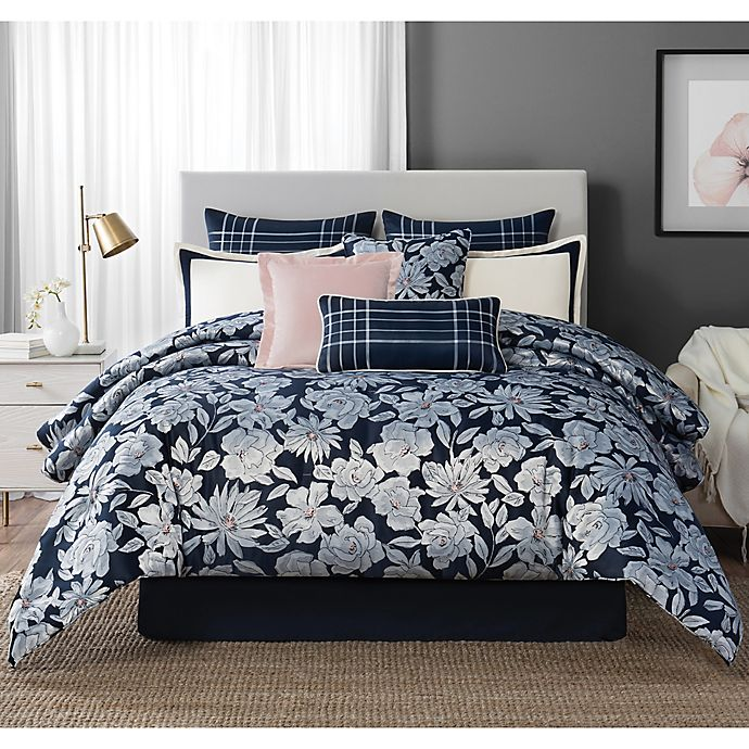 Alternate image 1 for Laundy by SHELLI SEGAL® Cameron Reversible Queen Comforter Set in Navy