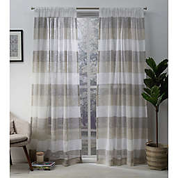 Exclusive Home Bern 2-Pack  108-Inch Rod Pocket Sheer Window Curtain in Natural
