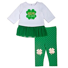 "babyGEAR® ""Kiss Me I'm Cute"" Shamrock Top and Leggings Set in Green"