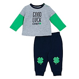 "babyGEAR® ""Good Luck Charm"" T-Shirt and Pant Set in Green"