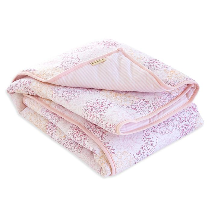 Alternate image 1 for Burt's Bees Baby® Peach Floral Reversible Quilt in Blossom