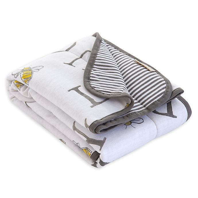 Alternate image 1 for Burt's Bees Baby® A-Bee-C Organic Cotton Receiving Blanket in Charcoal
