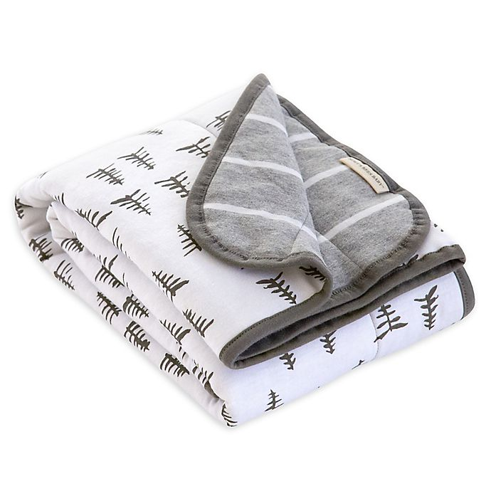 Alternate image 1 for Burt's Bees Baby® Pine Forest Organic Cotton Reversible Blanket in Heather Grey