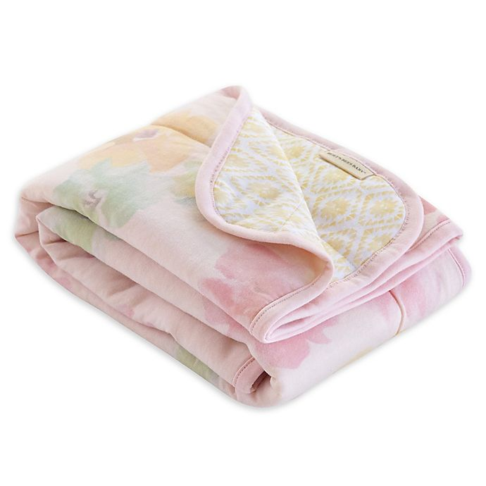 Alternate image 1 for Burt's Bees Baby® Morning Glory Organic Cotton Reversible Blanket in Blossom