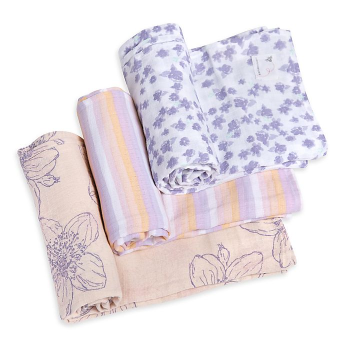 Alternate image 1 for Burt's Bees Baby® Blackberry Flower Organic Cotton Muslin 3-Pack Swaddle Blankets