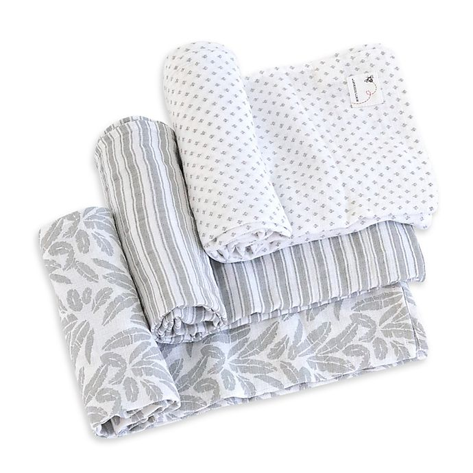 Alternate image 1 for Burt's Bees Baby® Dottie Bee Organic Cotton Muslin 3-Pack Swaddle Blankets in Fog