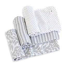 Burt's Bees Baby® Dottie Bee Organic Cotton Muslin 3-Pack Swaddle Blankets in Fog