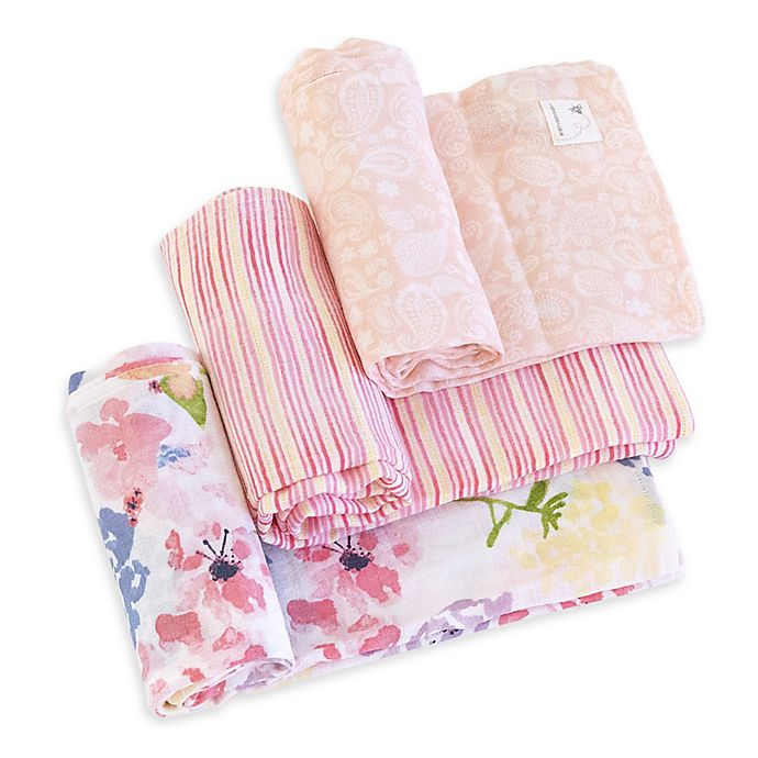 Alternate image 1 for Burt's Bees Baby® Spring Bouquet Organic Cotton Muslin 3-Pack Swaddle Blankets in Blossom