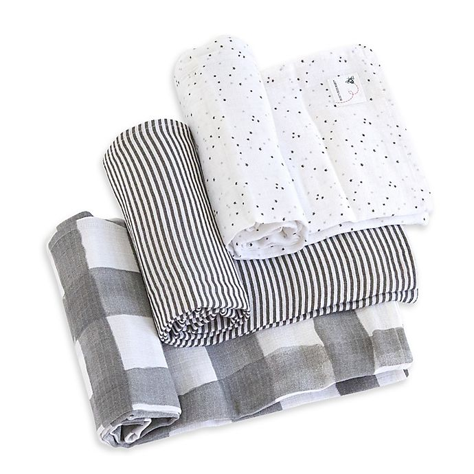 Alternate image 1 for Burt's Bees Baby® Starry Eyes Organic Cotton Muslin 3-Pack Swaddle Blankets in Charcoal