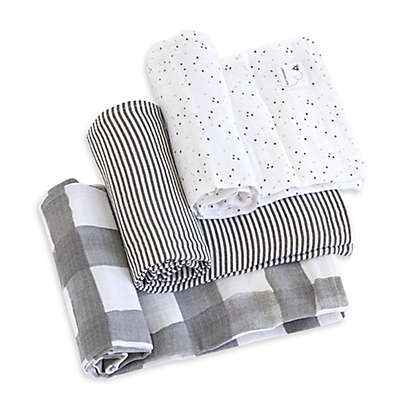 Burt's Bees Baby® Starry Eyes Organic Cotton Muslin 3-Pack Swaddle Blankets in Charcoal