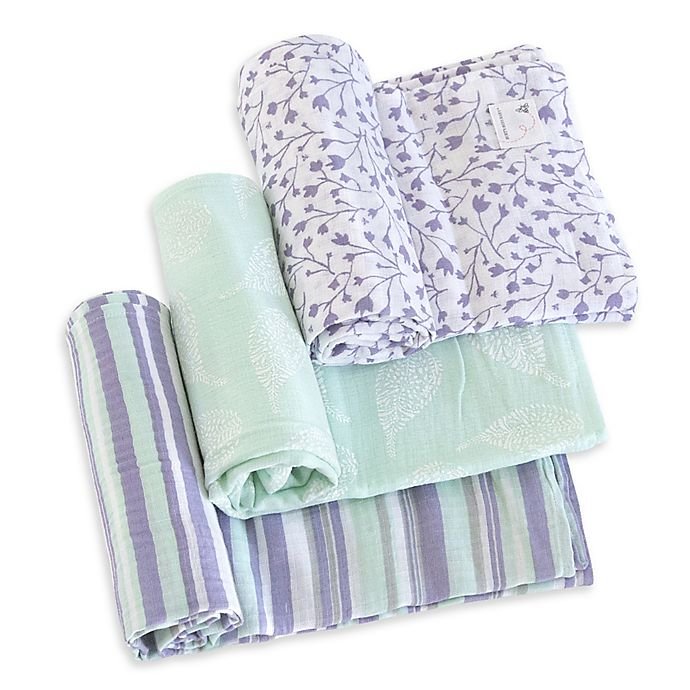 Alternate image 1 for Burt's Bees Baby® Floral Forest Organic Cotton Muslin 3-Pack Swaddle Blankets