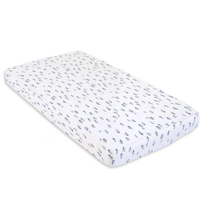 Alternate image 1 for Burt's Bees Baby® In the Pines Organic Cotton Fitted Crib Sheet in Cloud