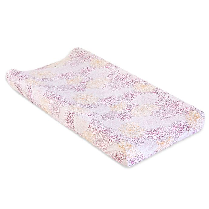 Alternate image 1 for Burt's Bees Baby® Peach Floral Organic Cotton Changing Pad Cover in Blossom